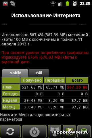 количество использованного трафика 3G