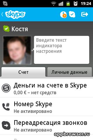 Skype личные данные