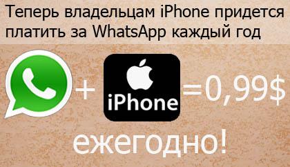 WhatsApp и iPhone заголовок