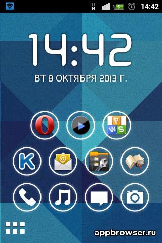 Главный экран и приложения в пузырьках