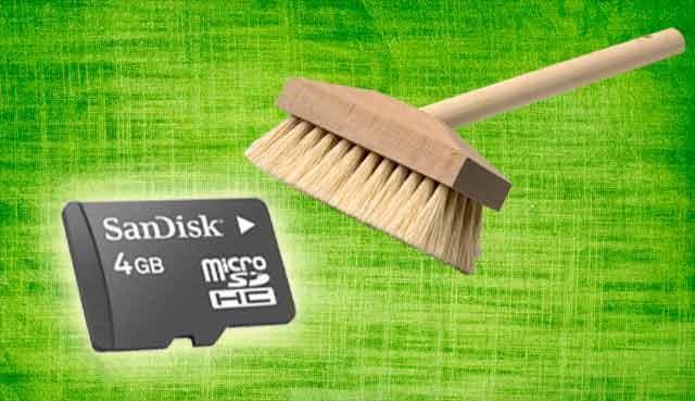 чистка карты памяти