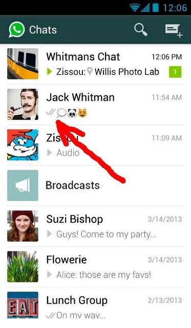 WhatsApp доставлено
