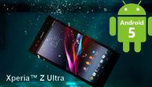 Андроид 5 для SONY Xperia Z Ultra