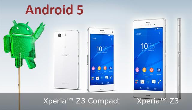 Андроид 5 для SONY Xperia Z3 и Z3 Compact