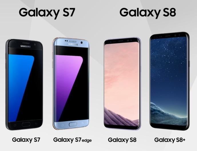 Сравнение дизайна S7 и S8